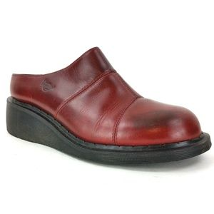 Dr. Martens Unisex Red Leather Clogs Mules